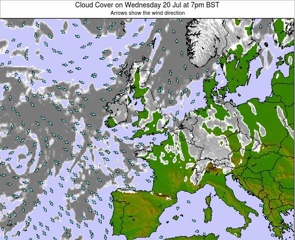United Kingdom Cloud Cover on Thursday 24 Jul at 7pm BST