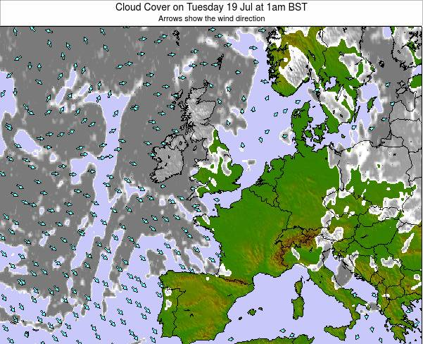 Guernsey Cloud Cover on Monday 20 May at 7am BST