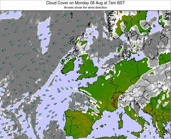 Faroe Islands Cloud Cover on Thursday 23 May at 1am BST