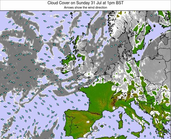 Guernsey Cloud Cover on Thursday 23 May at 7pm BST