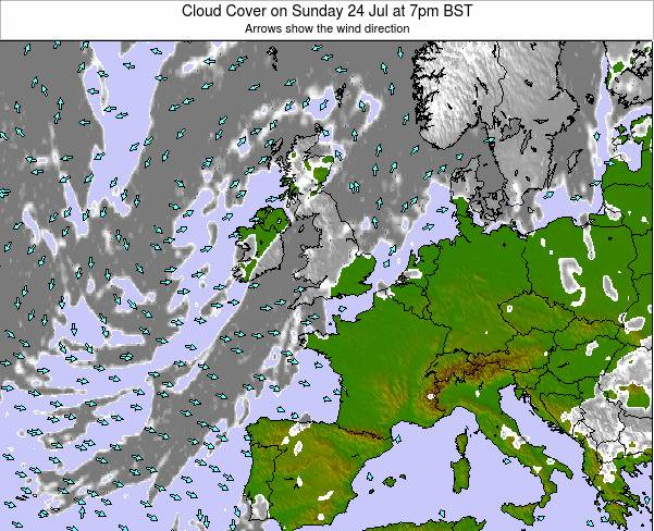 Faroe Islands Cloud Cover on Sunday 26 May at 7pm BST