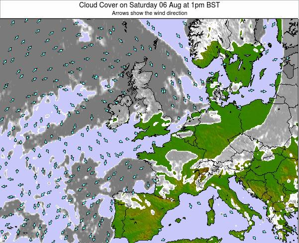 Guernsey Cloud Cover on Friday 24 May at 7am BST