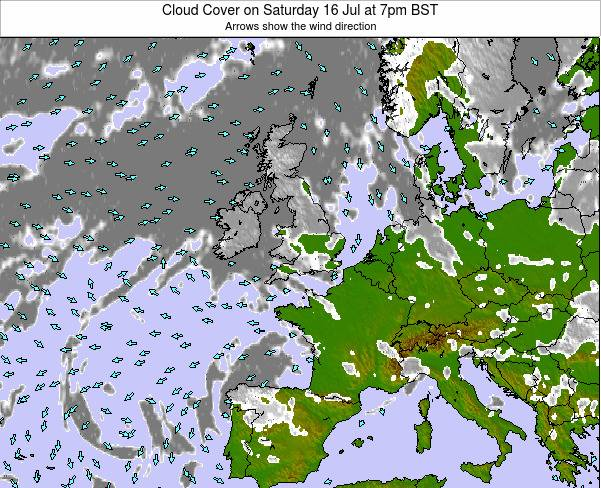 Faroe Islands Cloud Cover on Sunday 23 Jun at 7am BST