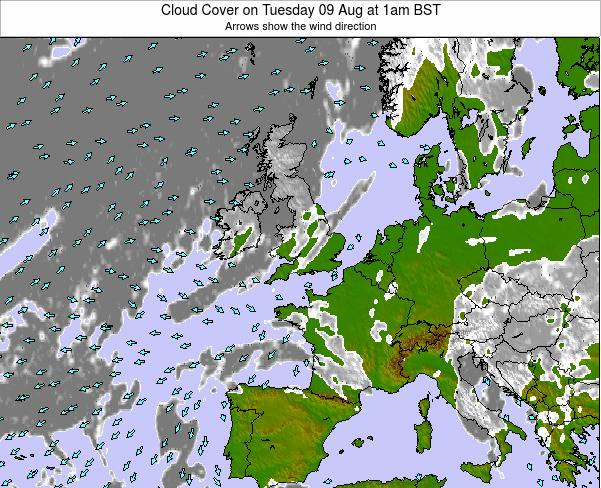 Ireland Cloud Cover on Tuesday 28 May at 1pm BST