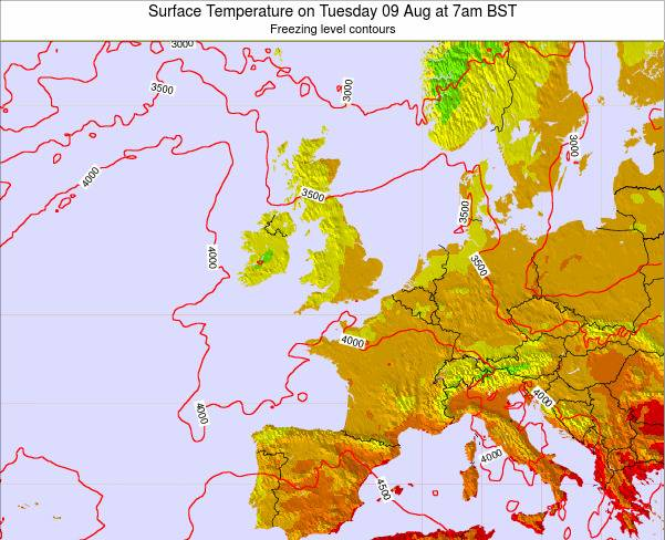 United Kingdom Surface Temperature on Friday 24 May at 1pm BST map