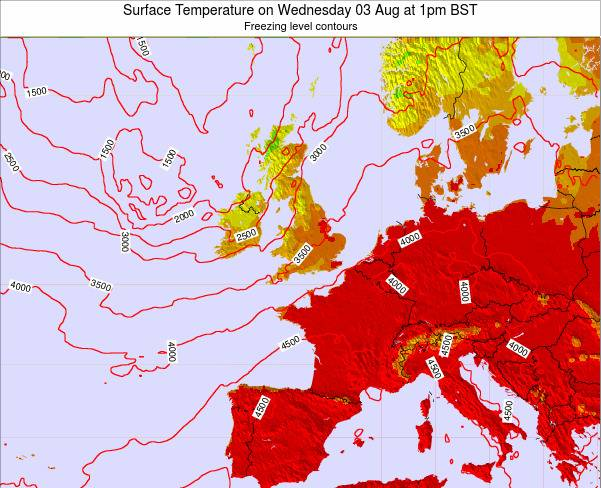 United Kingdom Surface Temperature on Sunday 23 Jun at 7am BST