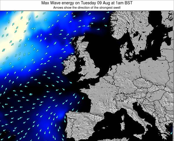United Kingdom Max Wave energy on Friday 01 Aug at 1am BST