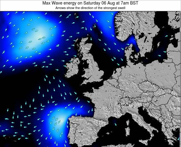 United Kingdom Max Wave energy on Friday 25 Apr at 1pm BST