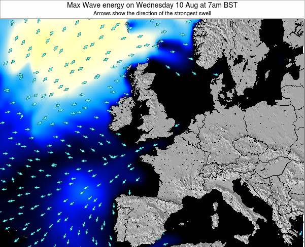 United Kingdom Max Wave energy on Monday 16 Dec at 12am GMT