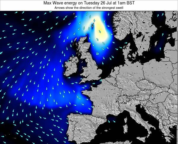 United Kingdom Max Wave energy on Tuesday 21 May at 1pm BST