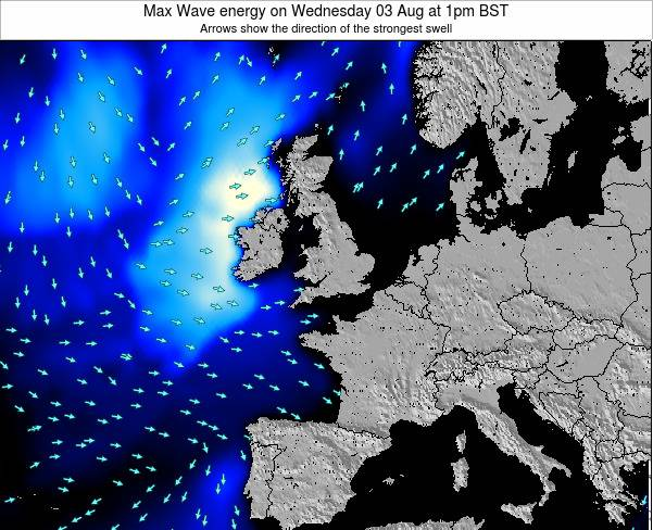 United Kingdom Max Wave energy on Sunday 26 May at 1pm BST