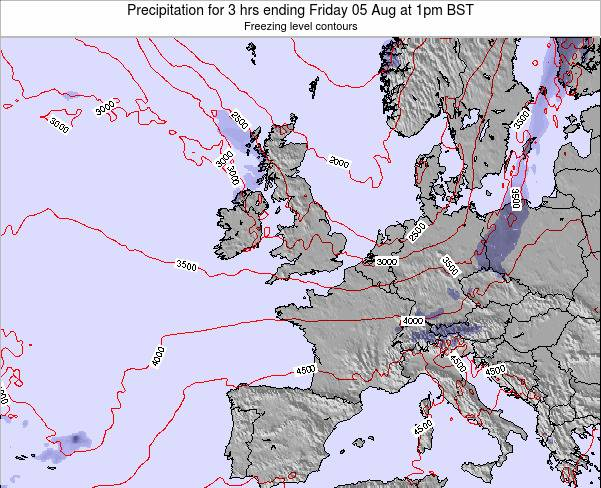 Ireland Precipitation for 3 hrs ending Friday 01 Aug at 7am BST map