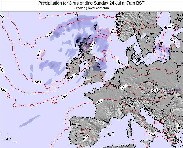 Faroe Islands Precipitation for 3 hrs ending Thursday 23 May at 1pm BST