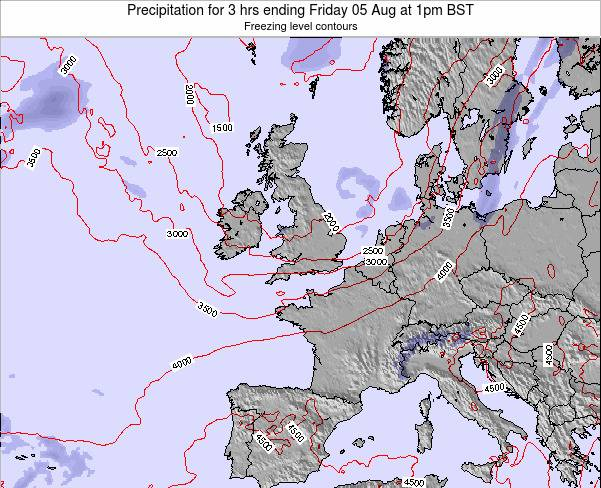 Ireland Precipitation for 3 hrs ending Thursday 25 Aug at 1am BST