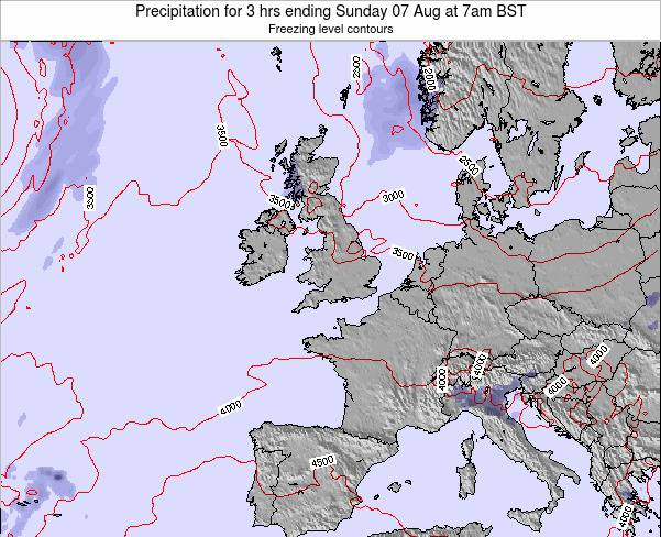 Ireland Precipitation for 3 hrs ending Sunday 24 Jul at 7pm BST
