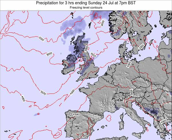 Ireland Precipitation for 3 hrs ending Monday 21 May at 7pm BST map