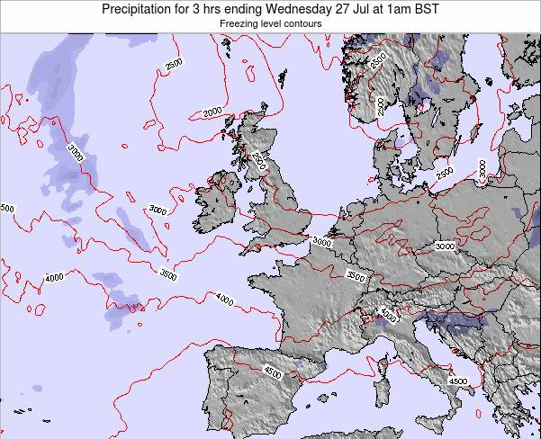 Ireland Precipitation for 3 hrs ending Saturday 26 Jul at 7am BST map