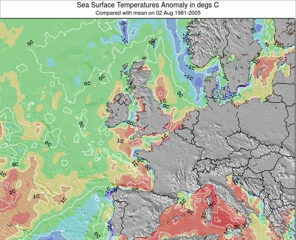 Guernsey Sea Temperature Anomaly Map
