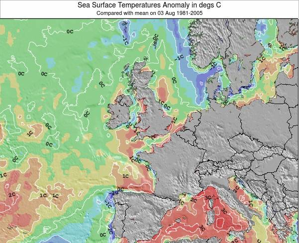Faroe Islands Sea Temperature Anomaly Map