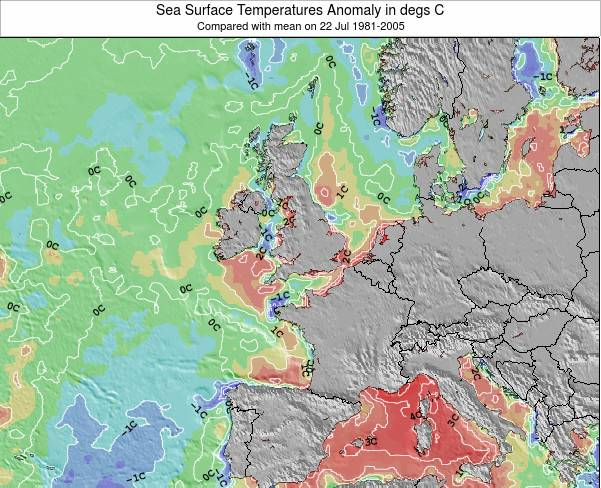 Faroe Islands Anomalia na Temperatura da Superfcie do Oceano Mapa