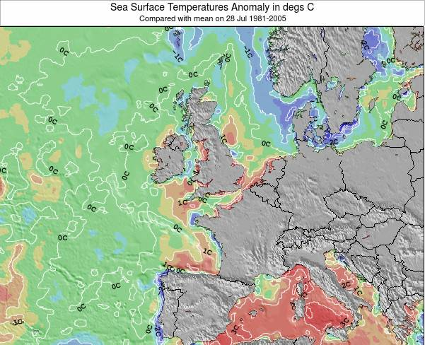 Faroe Islands Anomalia na Temperatura da Superfície do Oceano Mapa