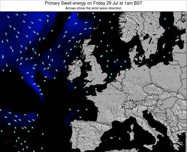 Ireland Primary Swell energy on Wednesday 25 Apr at 7pm BST map