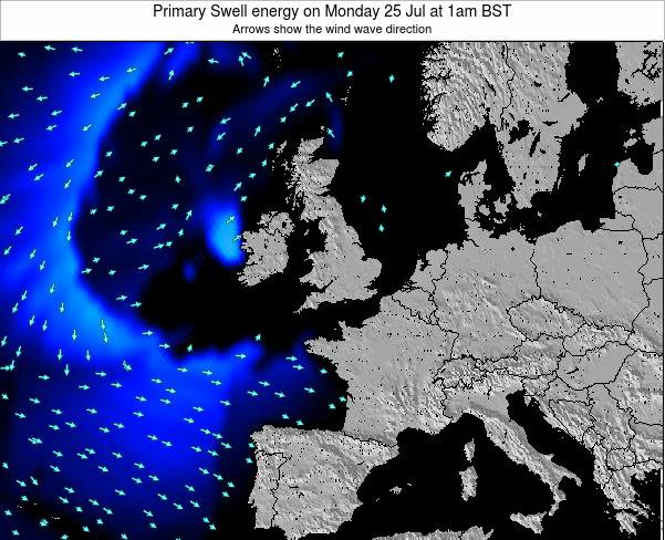 Ireland Primary Swell energy on Thursday 21 Dec at 12pm GMT map