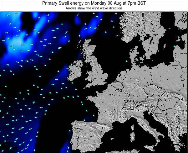 Ireland Primary Swell energy on Monday 25 Jun at 7am BST map
