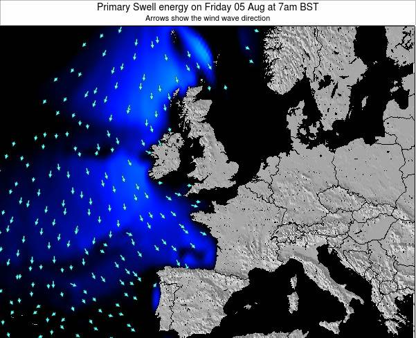 Ireland Primary Swell energy on Monday 04 Aug at 7am BST
