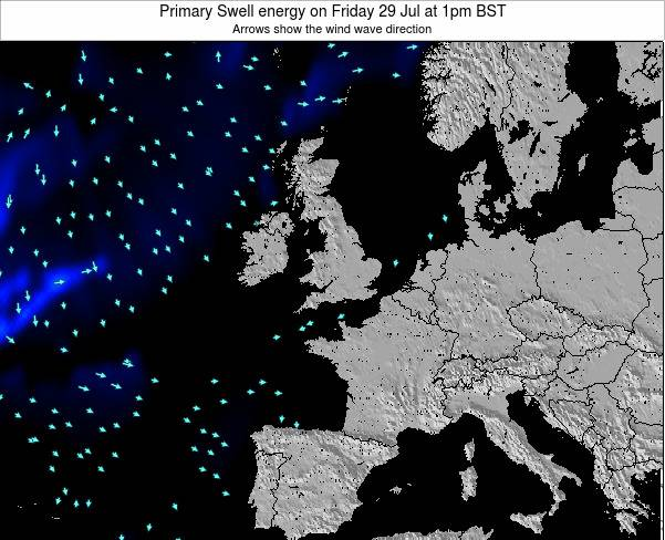 United Kingdom Primary Swell energy on Tuesday 19 Dec at 6am GMT map