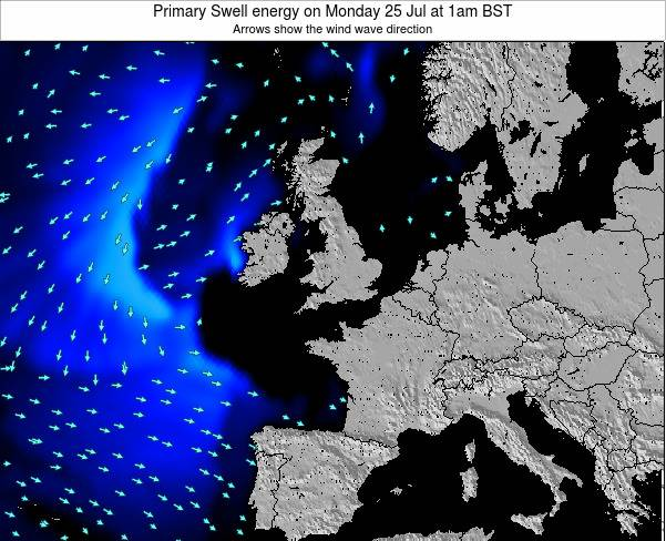 United Kingdom Primary Swell energy on Sunday 19 May at 1pm BST