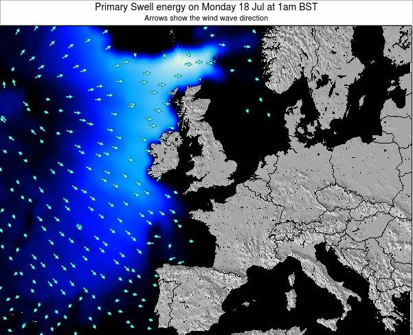 United Kingdom Primary Swell energy on Saturday 29 Oct at 7am BST