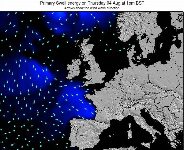 Faroe Islands Primary Swell energy on Tuesday 01 Sep at 1pm BST