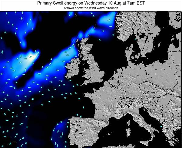 Ireland Primary Swell energy on Sunday 09 Mar at 6pm GMT