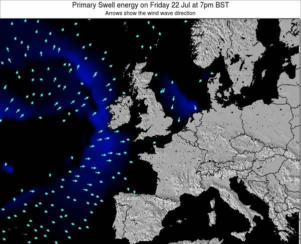 United Kingdom Primary Swell energy on Monday 27 Mar at 6am GMT