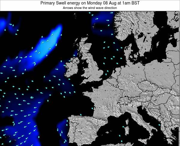 United Kingdom Primary Swell energy on Monday 12 Oct at 7pm BST