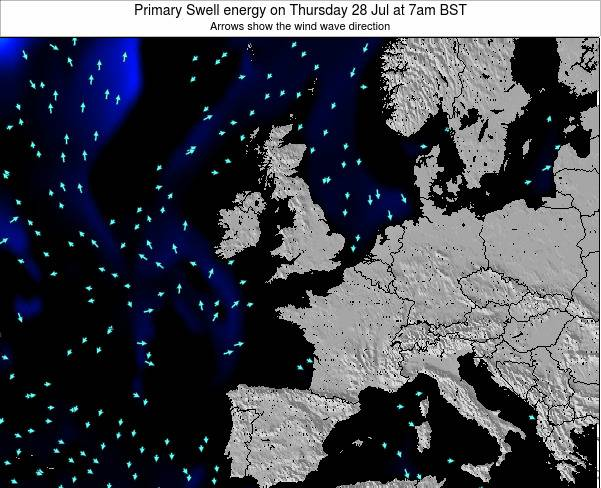 Ireland Primary Swell energy on Sunday 21 Jan at 12pm GMT map