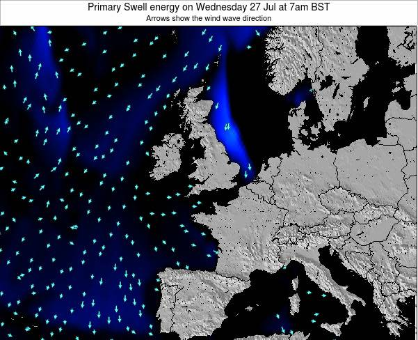 Ireland Primary Swell energy on Wednesday 24 Jan at 6am GMT map
