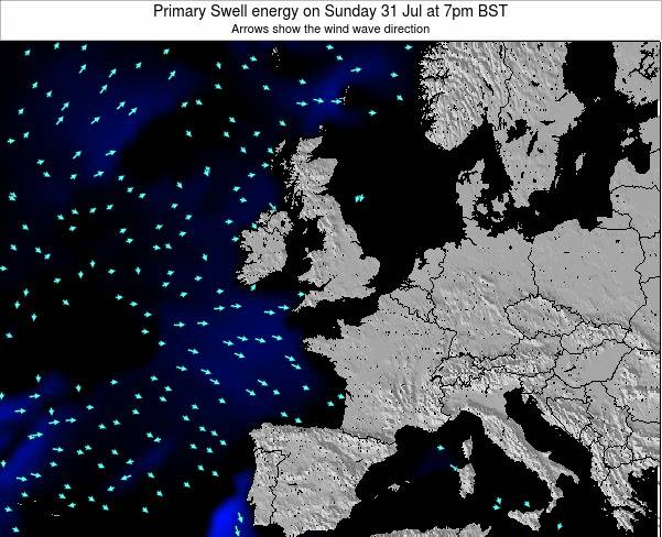 Ireland Primary Swell energy on Saturday 02 Aug at 7am BST