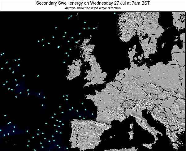 United Kingdom Secondary Swell energy on Friday 24 May at 1am BST