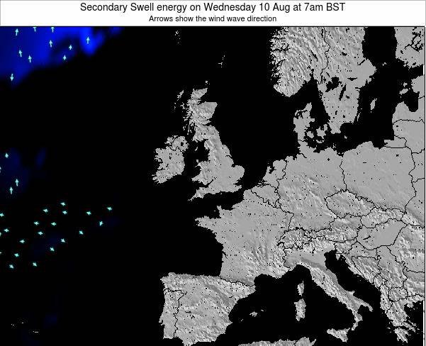 United Kingdom Secondary Swell energy on Saturday 25 May at 1pm BST