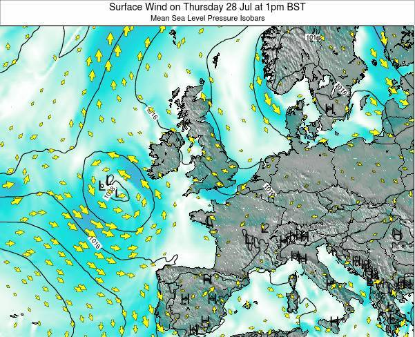 United Kingdom Surface Wind on Wednesday 29 May at 7am BST