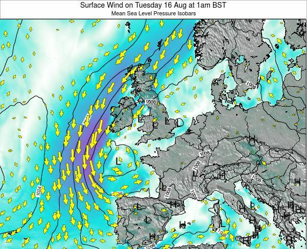 United Kingdom Surface Wind on Tuesday 28 May at 7pm BST map