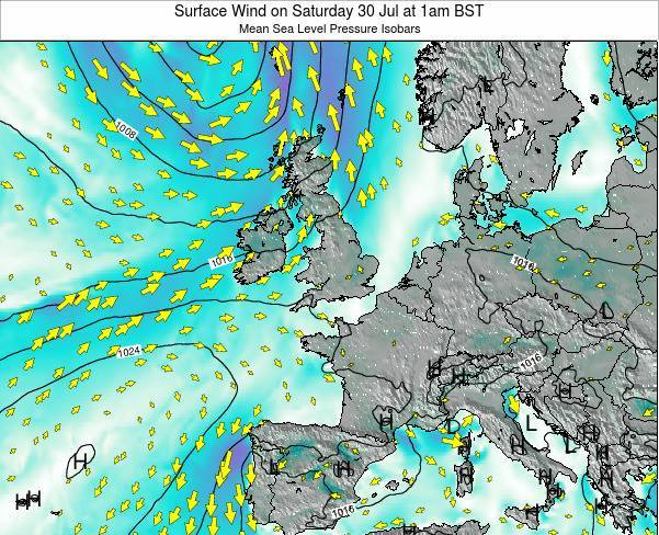 United Kingdom Surface Wind on Wednesday 22 May at 1am BST map