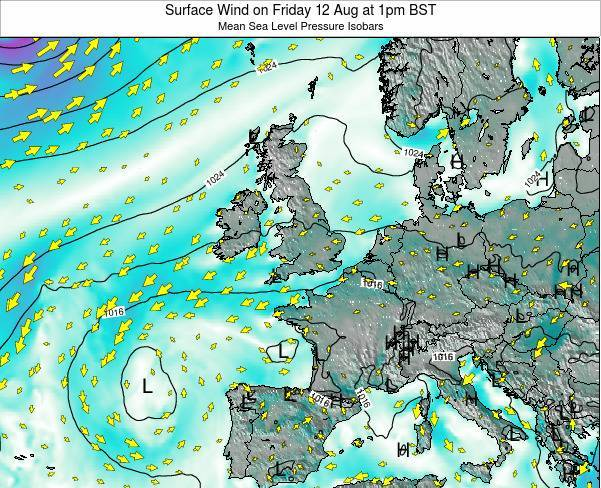Ireland Surface Wind on Monday 28 Apr at 7pm BST