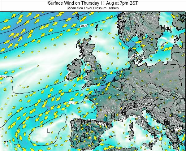 Ireland Surface Wind on Sunday 26 May at 1am BST