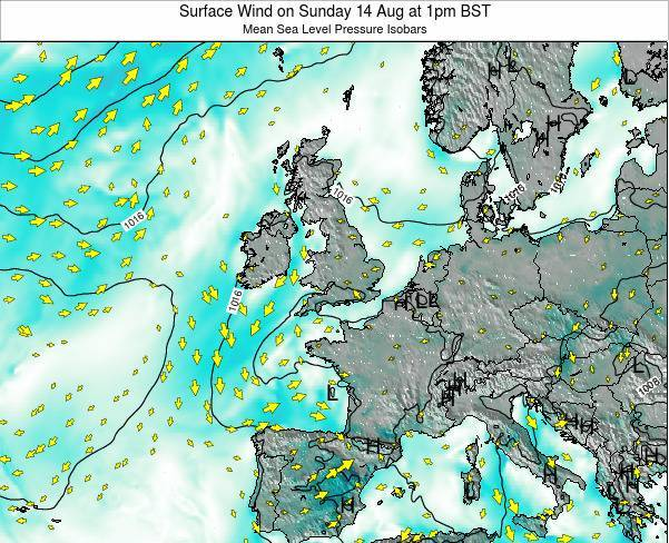 Ireland Surface Wind on Monday 01 May at 1am BST