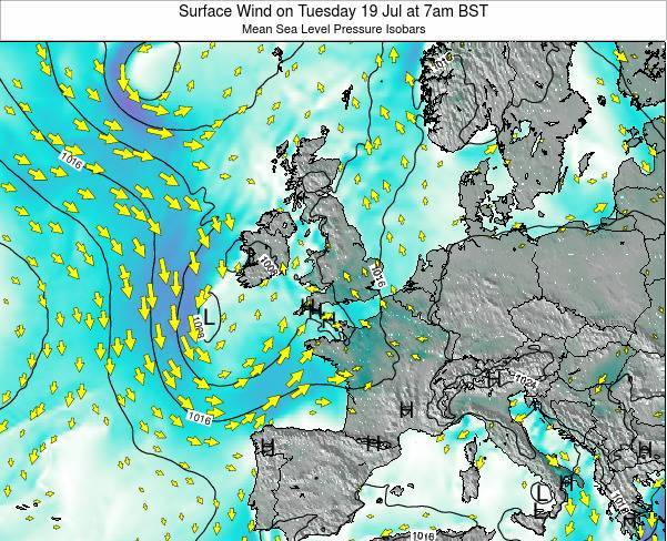 Ireland Surface Wind on Wednesday 06 Aug at 7pm BST