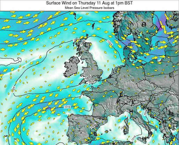 Ireland Surface Wind on Monday 17 Mar at 6am GMT