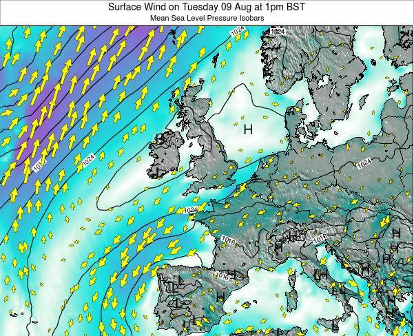 Ireland Surface Wind on Sunday 21 Sep at 1am BST